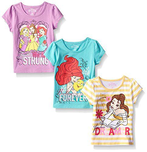 Disney Little Girls' 3 Pack Princess T-Shirts, Yellow, 5