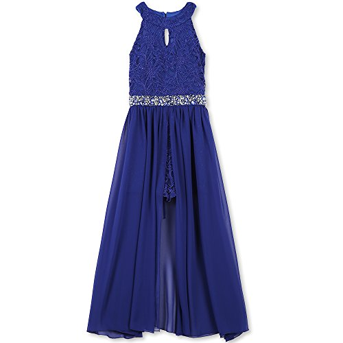 Speechless Big Girls' High Neck Maxi Romper Dress, Royal Blue, 8