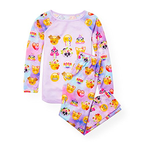 The Children's Place Big Girls' Emoji Face 2 Piece Pajamas, Palestpurp, L (10/12)