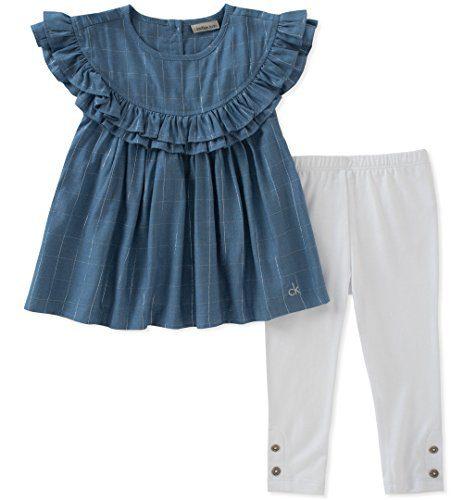 Calvin Klein Big Girl's Tunic Set Pants, Blue/White, 7