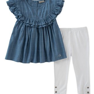 Calvin Klein Big Girl's Tunic Set Pants, Blue/White, 7