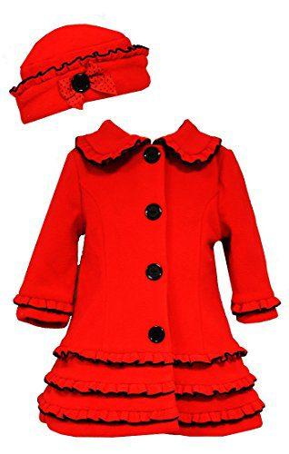 Bonnie Jean Little Girls Vest A-Line Holiday Fleece Coat & Hat, Red,