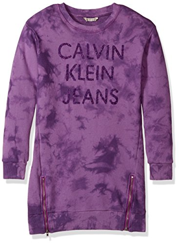 Calvin Klein Big Girls' French Terry Dress, Dark Violet, Large (12/14)