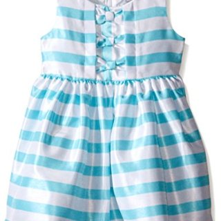 Sweet Heart Rose Little Girls Striped Shantung Dress with Center Bodice Panel and Three Bows, Turquoise/White, 2