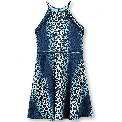 Speechless Big Girls' Animal Print Scuba High Neck Dress, Aqua Navy, 10