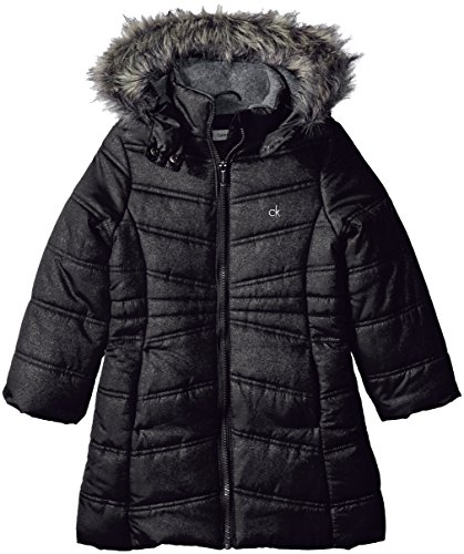 Calvin Klein Toddler Girls' Long Puffer Jacket, Anthracite, 2T