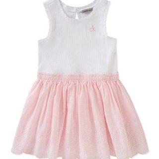 Calvin Klein Little Girls' Dress, White/Rose, 5