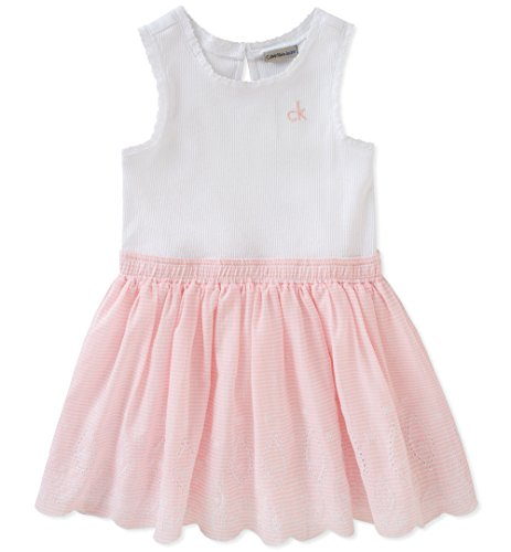 Calvin Klein Little Girls' Dress, White/Rose, 5