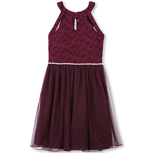 Speechless Big Girls' Sleeveless Sparkle Waist Party Dress with Cut Outs, Burgundy, 8
