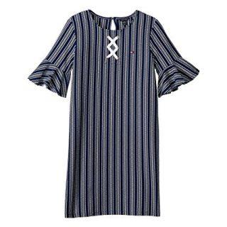 Tommy Hilfiger Big Girls Stripe Dress, Flag Blue, Small (7)