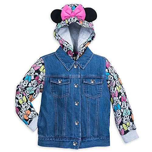 Disney Minnie Mouse Denim Hooded Jacket Girls Size 9/10 Multi