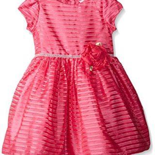 Sweet Heart Rose Little Girls' Organza Stripe Special Occasion Dress, Pink, 2