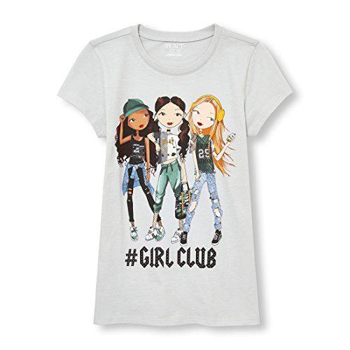 The Children's Place Big Girls' Power Short Sleeve Graphic Tee, Diamond Dove, M (7/8)