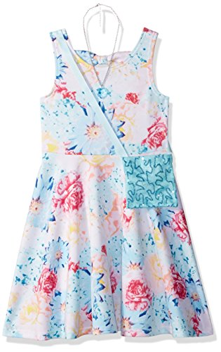 Sweet Heart Rose Little Girls' Floral Dress with Heart Necklace and Sequin Purse, Blue/Multi, 6