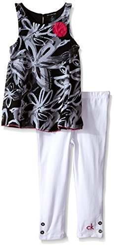 Calvin Klein Little Girls' Toddler Printed Georgette Tunic with White Leggings, Black/White, 3T
