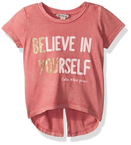 Calvin Klein Big Girls' Be You Tee, Light Rose, X-Large (16)