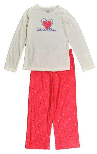 Calvin Klein Girls L/S White & Coral 2Pc Pajama Pant Set (7/8)