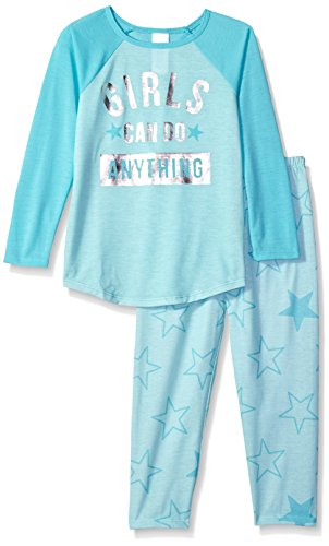 The Children's Place Big Girls' Can Do Anything Themed 2 Piece Pajamas, Iced Mint, XL (14)