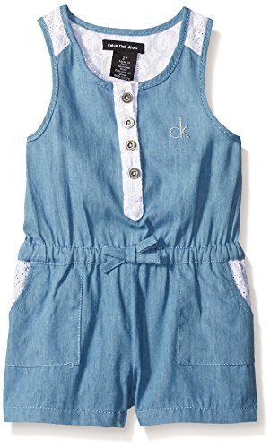 Calvin Klein Baby-Girls Light Denim Romper with Crochet Lace Trim, Blue, 12 Months