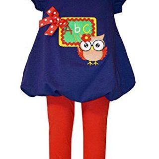 Bonnie Jean Little Girls Teacher Owl Tunic and Leggings, Sz 4