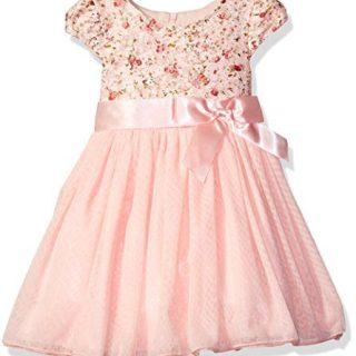 Bonnie Jean Toddler Girls' Short Sleeve Side Sash Ballerina Party Dress, Pink Floral, 4T