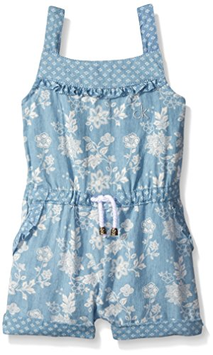 Calvin Klein Little Girls' Floral Printed Denim Romper, Blue, 6