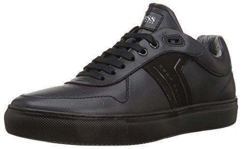 Hugo Boss BOSS Green by Men's Enlight Tenn Leather Sneaker, Black, 11 M US