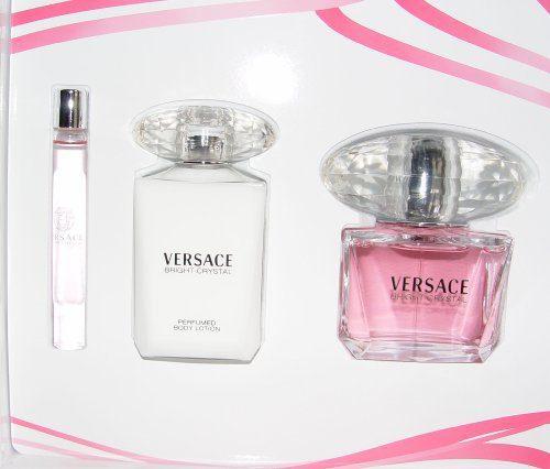 Versace Bright Crystal Gift Set 3 Pcs, 3.0 Oz Edt,3.4 Oz Body Lotion, 10 Ml Mini Edt