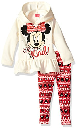 Disney Girls' Minnie Mouse 2-Piece Hooded Top and Legging Set, White, 18M