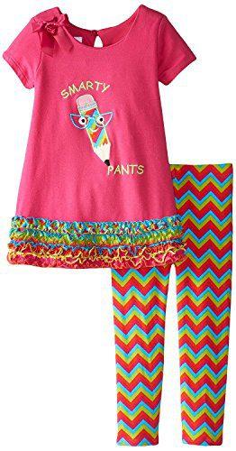 Bonnie Jean Little Girls Fuchsia Smarty Pants Legging Set 2T
