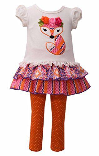 Bonnie Jean Fox Theme Tunic and Legging 2 Pc Set, Little Girl, 2T