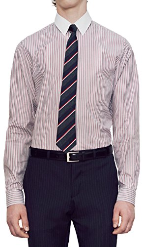 Gucci Men's Rose Rail Bicoloured Stripe Cotton Contrast Collar Dress Shirt, Pink, 17 1/2