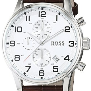 Hugo Boss Silver Dial SS Leather Chrono Quartz Mens Watch