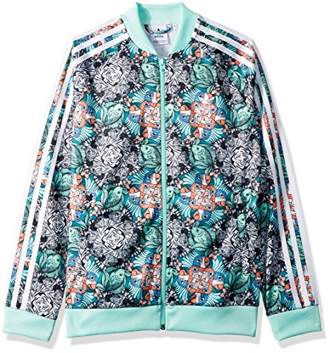 adidas Originals Big Girls' Superstar Zooanimal Print Tracktop, Multi/Clear Mint/White, M