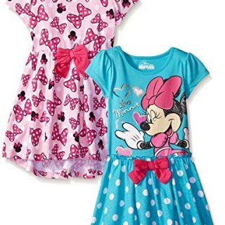 Disney Little Girls' 2 Pack Love Minnie Dresses, Pink, 4