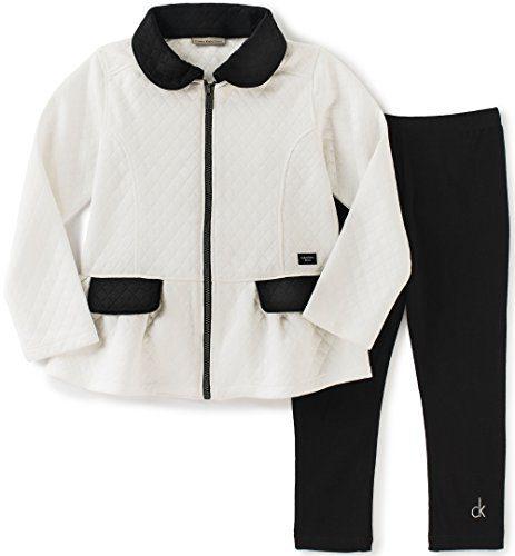 Calvin Klein Little Girls' Toddler Double Knit Jacket with Leggings Set, Black, 3T