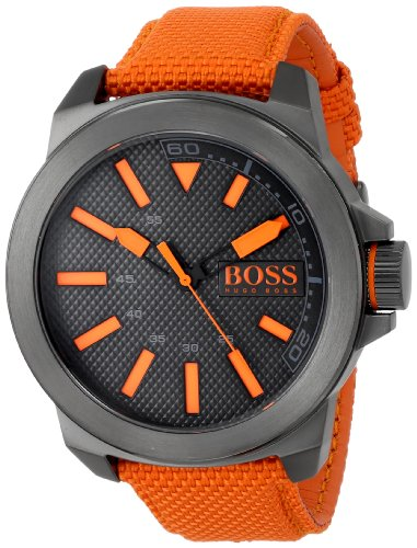 BOSS Orange Men's New York Stainless Steel Watch with Orange Woven Band
