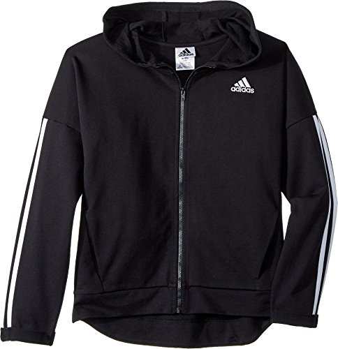 adidas Kids Girl's Zip Thru Hoodie (Big Kids) Black Large