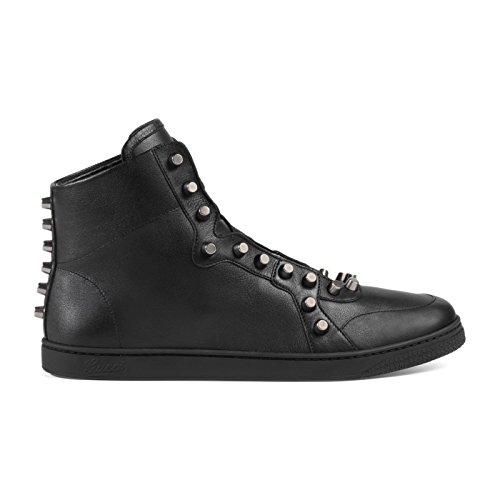 Gucci Men's Black Leather High Top Rivets Sneakers Shoes, Black, US 11.5 10.5
