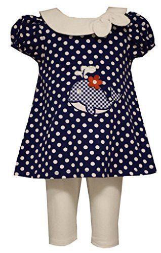 Little Girls Polka Dot Whale Applique Nautical Dress/Legging Set, Bonnie Jean, Navy, 6