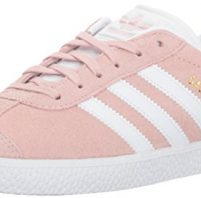 adidas Originals Unisex-Kids Gazelle Sneaker, Ice Pink/White/Gold Metallic, 4 M US Big Kid