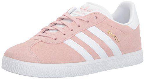 adidas Originals Unisex-Kids Gazelle Sneaker, Ice Pink/White/Gold Metallic, 4 M US Big Kid
