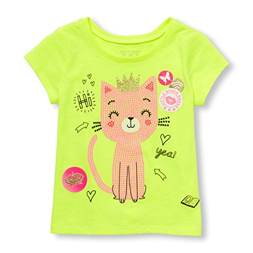 The Children's Place Toddler Girls' Cat Short Sleeve Graphic Tee, Sample/Dye Sunny Side up, 5T