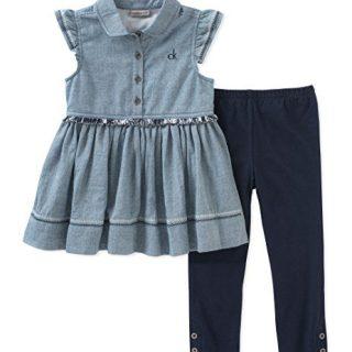 Calvin Klein Big Girl's Tunic Set Pants, Light Blue/Navy, 7