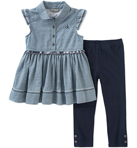 Calvin Klein Big Girl's Tunic Set Pants, Light Blue/Navy, 7
