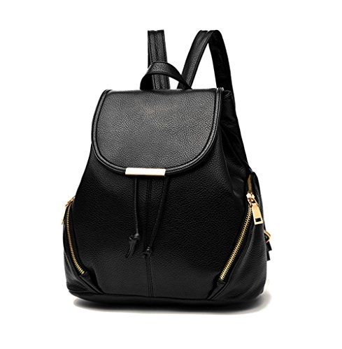 Aiseyi Casual Fashion School Leather Backpack Shoulder Bag