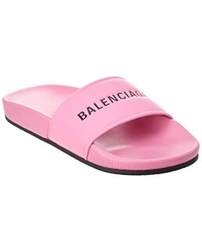 Balenciaga Leather Pool Slide Sandal, 39, Pink