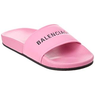 Balenciaga Leather Pool Slide Sandal, 39, Pink