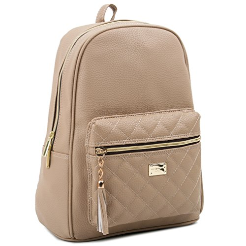 Copi Women's Simple Design Modern Cute Fashion small Casual Backpacks Beige