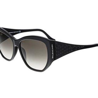 Balenciaga Women's Shiny Black Leather Fashion Sunglasses 58mm